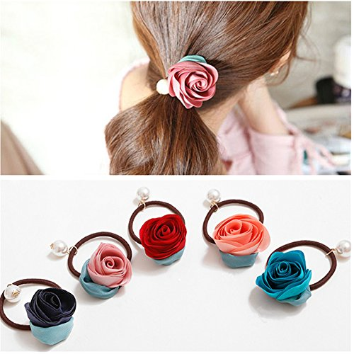 Casualfashion 5Pcs Girls Women Pearls Flower Hair Accessories Elastic Hair Ties Hair Ropes Fashion Headbands Ponytail Holders Hair Rings Hairband