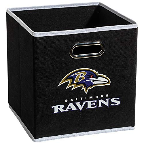 Franklin Sports Baltimore Ravens Collapsible Storage Bin - NFL Folding Cube Storage Container - Fits Bin Organizers - Fabric NFL Team Storage Cubes