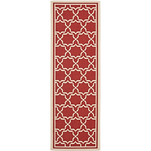 Safavieh Courtyard Collection CY6916-248 Red and Bone Indoor/ Outdoor Runner (2'3