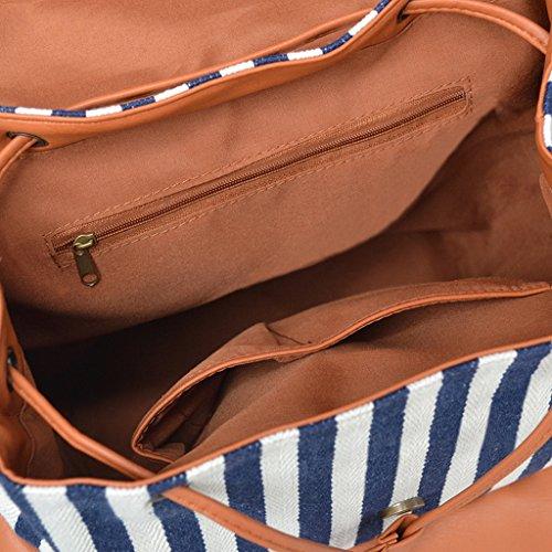 Striped Girls Vintage School Women Canvas Bag Daypack College Bande Rucksack Backpack p1PqWH