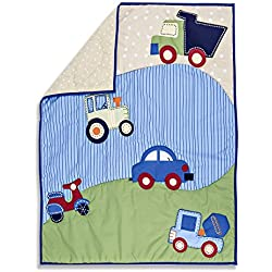Dream On Me Travel Time Boy's 5 Piece Reversible Portable Crib Set, cars, trucks, scooter
