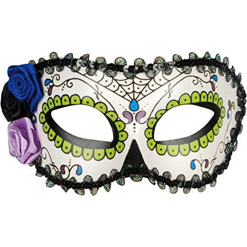 [Star Power Women Day of the Dead Sugar Skull Half Mask, White Red, One-Size] (Day Of The Dead Female Mask)