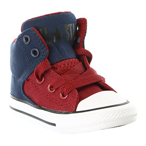 Converse Kids Boys Chuck Taylor All Star High Street Hi (Infant/Toddler), Obsidian/Red Block/White, 9 Toddler M