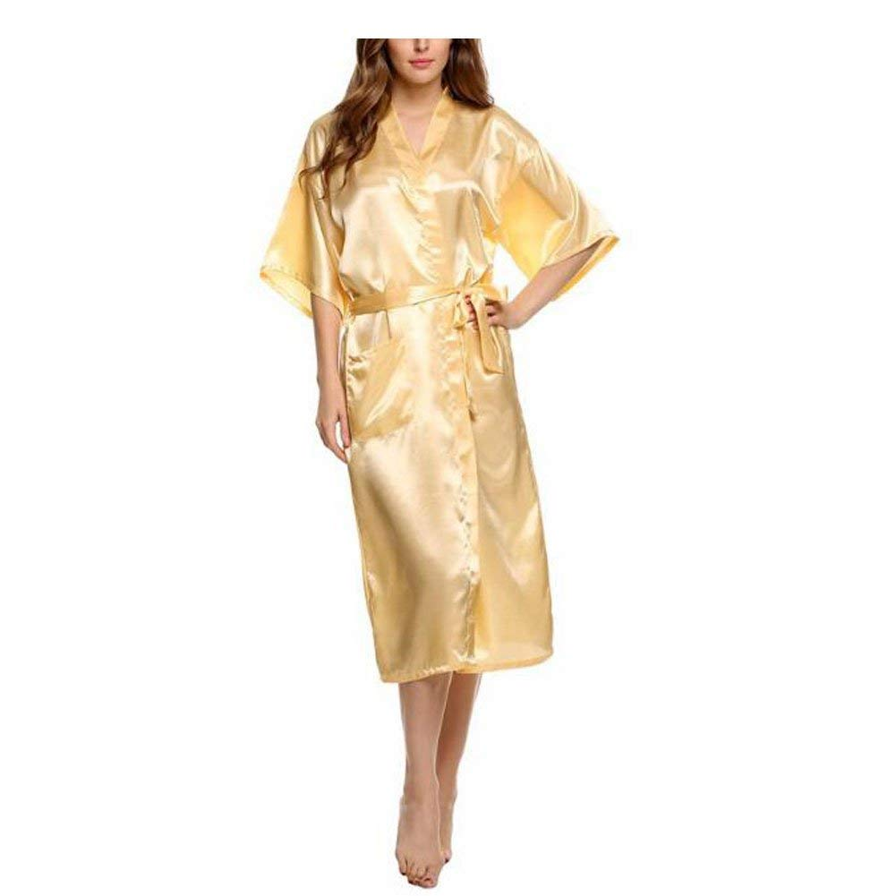 Kimono Mujer Elegantes Moda Batas Ocasional Sólido Color Verano Satín Modernas Casual Camisones Mangas 3/4 V-Cuello con Cinturón Pijamas Mujer Albornoz: ...