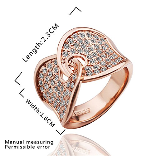 Hitaocity 18k Rose Gold Plated Unique Two Heart intertwined Promise Ring Ring Size 8