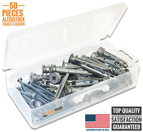 Heavy Duty Self-drilling Zinc Toggle Drywall Anchors with Screws Kit, 50 Pieces