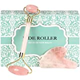 Jade Rose Quartz Roller for Face 2 in 1 Gua Sha Set Including Rose Quartz Roller and Jade Face Massager 100% Real Natural Jade Facial Roller Anti Aging Face Roller Massager by OMO