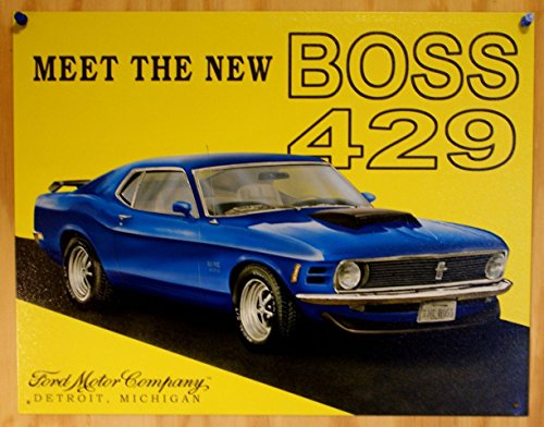 Poster Discount Ford Mustang Meet the New Boss 429 Car Retro Vintage Tin Sign - 13x16, 16x13