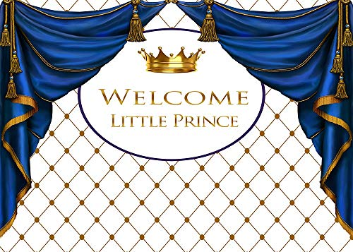 BoTong 7x5FT Royal Prince Baby Shower Theme Photography Backdrop Golden Crown Rhombus Background Photo Baby Little Boy Shower Party Bule Curtain Banner Supplies Decoration]()