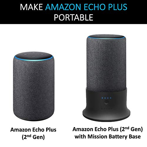 """Made for Amazon"" Portable Battery Base for Amazon Echo Plus (2nd Generation) by Mission Cables - Black"