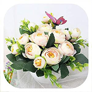 Memoirs- Artificial Flowers Rose Quality Ceramics Vase +Silk Flowers Artificial Flower Set Home Decoration Home Flowers Decoration,E 16