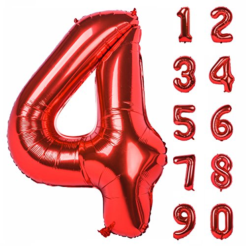 40 Inch Red Large Numbers 0-9 Birthday Party Decorations Helium Foil Mylar Big Number Balloon Digital 4