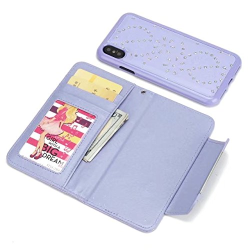 JIALUN-carcasa de telefono Cuero de la PU del diamante con la caja del ranurador de la tarjeta de la ranura del efectivo del caso del teléfono para el iPhone X ( Color : Purple ) Purple