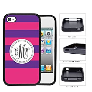 Purple And Pink Stripe With Gray Monogram (Custom Initials) Rubber Silicone TPU Cell Phone Case Apple iPhone 4 4s