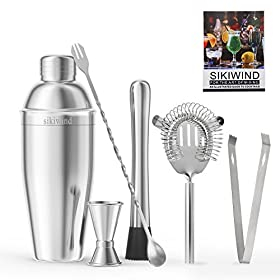 Cocktail Shaker Set 7 Piece Stainless Steel SIKIWIND Bar Set Accessories – Bartenders 25 Oz Martini Shaker With Measuring Jigger, Mixing Spoon,Drink Muddle,Strainers and Ice Tongs + Drink Recipe