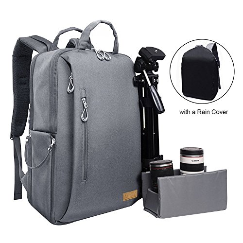 Auelife Camera Bag Waterproof Multipurpose Anti-shock DSLR Camera Backpack for Nikon Sony Canon SLR/DSLR Cameras Mirrorless Lens and Tripod Larger Size with a Rain Cover,Dark Gray Laptop Insert Sleeve Bag