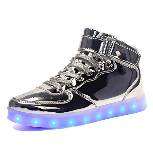 Voovix Kids LED Light Up Shoes USB Charging Flashing High-top Sneakers for Boys and Girls Child Unisex(Silver,32)