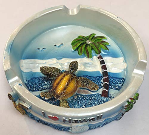 (Ashtray Stainless Steel Metal Hibiscus Flower ALOHA HAWAII w/Turtle, Hula Girl, Dolphin, Palm Tree, & Pineapple Design, Silver Color (3.5 inches) )