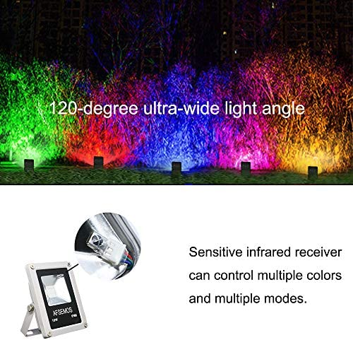 AFSEMOS LED Landscape Lighting Multiple Color RGB Lights with Remote Control with Waterproof Low Voltage Spotlight for Garden Pathway, House Exterior or Parties 16 Colors with Adjustable Brightness