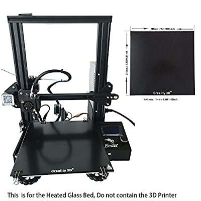 CCTREE Creality Upgraded 3D Printer Platform Heated Bed Build Surface Tempered Glass Plate for Ender 3 3D Printer 235x235x3mm