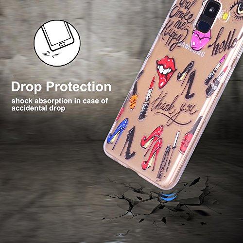 Funda para Samsung A8 2018, CaseLover Suave Transparente TPU Silicona Carcasa para Samsung Galaxy A8 2018 Ultra Delgado Flexible Goma Gel Protectiva Caso Anti Rasguños Cubierta Anti Choque Caja Case C Tacones altos