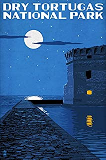 product image for Dry Tortugas National Park, Florida - Night Scene (16x24 Giclee Gallery Print, Wall Decor Travel Poster)