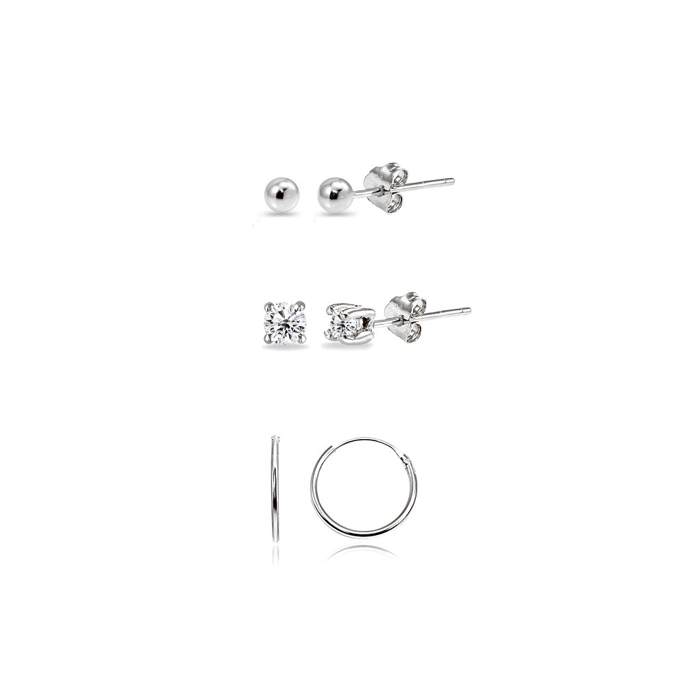 3 Pairs Sterling Silver 10mm Endless Hoops, 2mm Round CZ & Ball Stud Unisex Cartilage Earrings Set