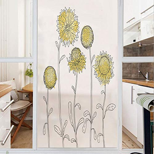 (Decorative Window Film,No Glue Frosted Privacy Film,Stained Glass Door Film,Hand Drawn Style Sunflowers on Twigs Petals Growth Botany Summertime Decorative,for Home & Office,23.6In. by 59In Pale Yello)