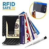 Nextac Gear - Premium Slim Front Pocket Wallet with Removable Money Clip. Carbon Fiber and Aluminum design Credit Card Holder with RFID Blocking and Bottle Opener