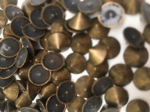 CraftbuddyUS 100pcs 8mm Bronze/Gold Hotfix Cone Spike Studs, Punk, DIY Fashion Gems, Stick on