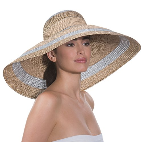 Eric Javits Fashion Designer Women's Headwear Hat - Stripe Dip Brim - Silver/White by Eric Javits