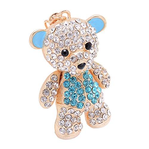 Sewanz Women's Gold Tone Rhinestones Mini Teddy Bear Key Rings, Lobster Clasp Metallic Key Chain, Bag Decorations (Blue) - Rhinestone Teddy