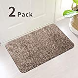 2Pack Indoor Doormat Absorbs Water 28'x18' Latex Backing Non Slip Door Mat for Small Front Door Inside Floor Dirt Trapper Mat Cotton Entrance Rug Shoe Scraper Machine Washable Carpet Brown