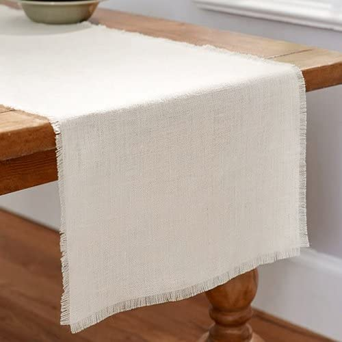 Firefly Imports Linen Table Runner with Fringe Edge, Natural, 12-1/2-Inch x 120-Inch