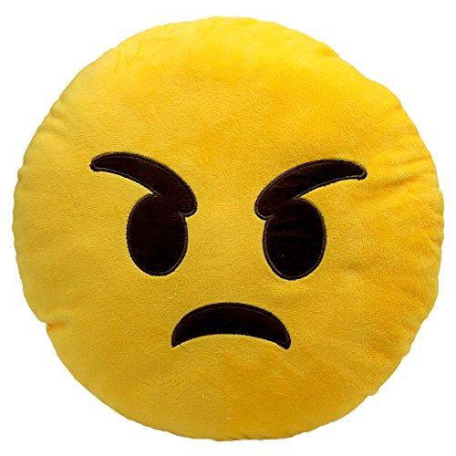 Price comparison product image PrimeCuts Premium Quality BIG 35cm Angry Face Emoji Pillow - Soft Smiley Emoticon Stuffed Plush Toy