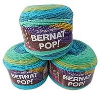Bernat Pop Worsted Medium Weight Self-Striping 3-Pack Acrylic Yarn 5 Ounces 280 Yards