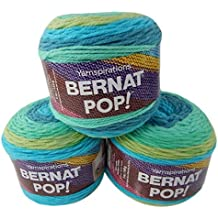 Bernat Pop Worsted Medium #4 Weight Self-Striping 3-Pack Acrylic Yarn 5 Ounces 280 Yards (Peacock Plume)