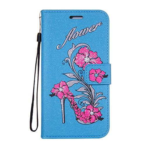 Glitter Case For Iphone X Iphone X Case Leather Wallet Blue Gostyle Bling Flower High Heels Shoe Embossed Stand Feature Flip Cover Magnetic Closure With Card Holder Hand Lanyard Strap