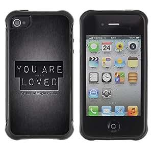 Suave TPU Caso Carcasa de Caucho Funda para Apple Iphone 4 / 4S / BIBLE You Are Loved - John 3:16 / STRONG
