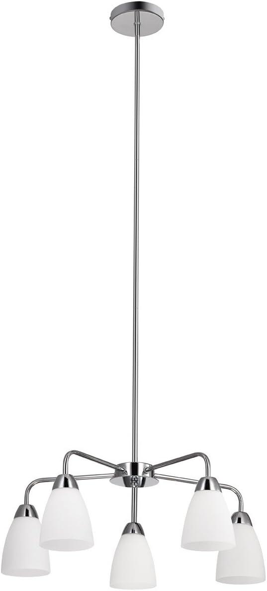 Globe Electric 65779 Candice 5-Light Chandelier, Polished Chrome Finish, White Glass Shades