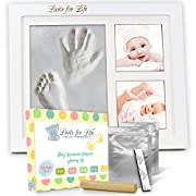 Your Baby's Handprint Footprint Memory Kit - Special Engraved Version! Premium Quality Clay Mold & Picture Frame Keepsake Kit, Unique Baby Shower Gift