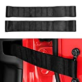 VOFONO Updated Heavy Duty Strong Adjustable Door Limiting Check Strap for Jeep Wrangler TJ JK JL Load 1000 Lb (2PCS-Black)