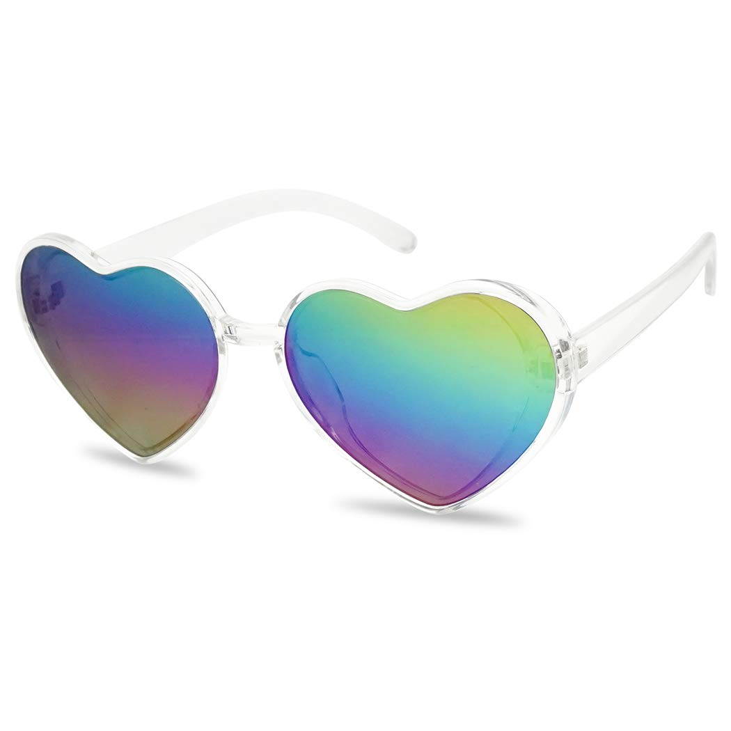 Oversized Heart-Shape Round Colorful Flat Mirror Lens Love Sun Glasses (Clear Frame, Rainbow) by SunglassUP