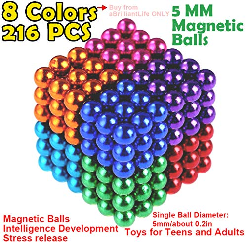 - 5MM 216 Pieces Multicolored Magnetic Balls MagnetsToys Sculpture Building Magnetic Blocks Magnet Cube Gift for Intellectual Development Office Toy Stress Relief Gift for Teens and Adult 8 Color