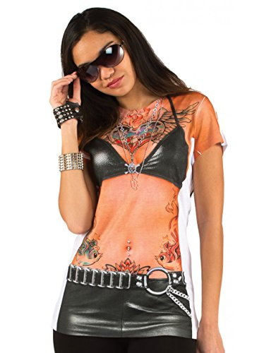 Biker Babe Costumes (Biker Rocker Babe w/ Tattoos Women's Allover Longsleeve Costume T-Shirt (2XL))