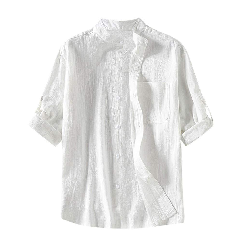 Mens Linen Shirts Beach Tronet Men's Baggy Cotton Linen Solid Button Plus Size Half Sleeve Shirts Tops