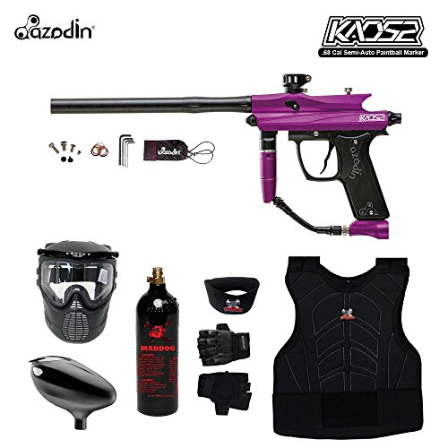 MAddog Azodin KAOS 2 Beginner Protective CO2 Paintball Gun Package - Purple/Black (Paintball Gun For Beginners)