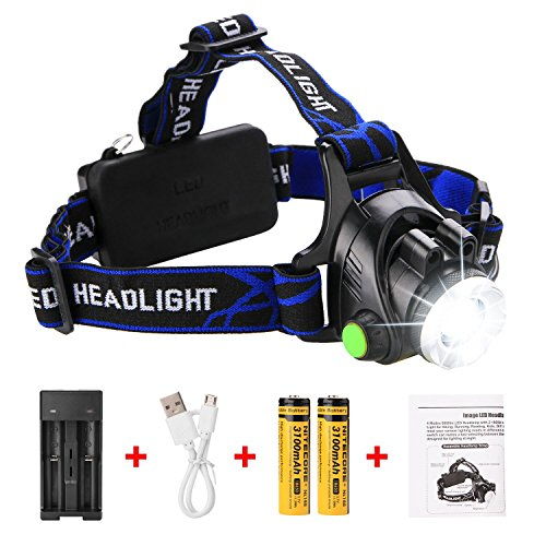LED Headlamp IMAGE 6000 lumens Super Bright Waterproof Zoomable 4 Modes Adjustable LED Headlight with Rechargeable Batteries Portable Flashlight for Camping Hiking Fishing Reading