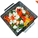 Vegetable Grill Basket - DISHWASHER SAFE STAINLESS STEEL - Large Non Stick BBQ Grid Pan For Veggies Meat Fish Shrimp & Fruit - Best Barbecue Wok Topper Accessories Gift for Dad - Cave Tools