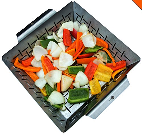 (Cave Tools Vegetable Grill Basket - Dishwasher Safe Stainless Steel - Large Non Stick BBQ Grid Pan for Veggies Meat Fish Shrimp & Fruit - Best Barbecue Wok Topper Accessories Gift for Dad)